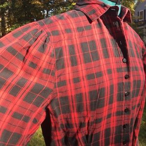 Vintage 80s Tartan Fitted Puff Sleeve Blouse